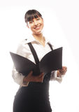 Young smiling business woman with black folder Royalty Free Stock Photography