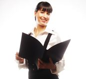 Young smiling business woman with black folder Royalty Free Stock Image