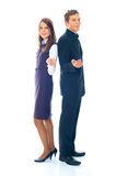 Young smiling business woman and business man. On a white background Royalty Free Stock Images