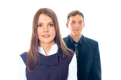 Young smiling business woman and business man. On a white background Stock Photos