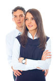 Young smiling business woman and business man Royalty Free Stock Photography