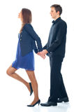 Young smiling business woman and business man Royalty Free Stock Image