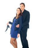 Young smiling business woman and business man. On a white background Stock Images