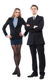 Young smiling business woman and business man Royalty Free Stock Photo