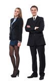 Young smiling business woman and business man Stock Photo