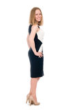 Young smiling business woman in full length. Royalty Free Stock Photos
