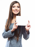 Young smiling business woman hold board, white background  port Stock Photography