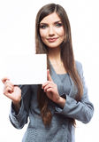 Young smiling business woman hold board, white background  port Stock Photo