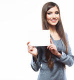 Young smiling business woman hold board, white bac Royalty Free Stock Photography