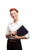 Young smiling business woman holding diary Royalty Free Stock Image