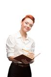 Young smiling business woman holding diary Royalty Free Stock Images