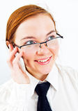 Young smiling business woman speak by phone Royalty Free Stock Images