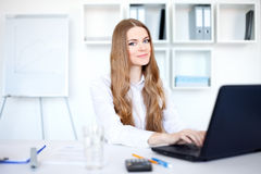 Young smiling business woman working on laptop. Portrait of beautiful young smiling business woman working on a laptop at office Stock Photography