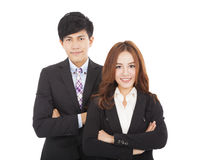 Young smiling businessman and businesswoman Royalty Free Stock Photos