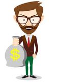 Young smiling businessman holding a bag of money Royalty Free Stock Photo