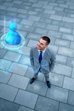 Young smiling businessman outdoors from top Royalty Free Stock Image