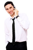Young smiling businessman using cell phone Stock Photos