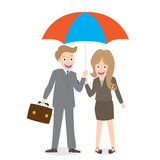 Young smiling businessman and woman with opened umbrella isolate on white background Royalty Free Stock Image