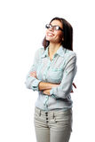 Young smiling businesswoman with arms folded Royalty Free Stock Photography