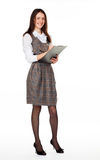 Young smiling businesswoman with clipboard Royalty Free Stock Image