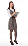 Young smiling businesswoman with clipboard Stock Image