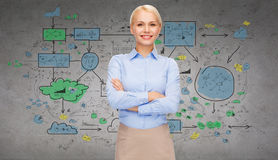 Young smiling businesswoman with crossed arms Royalty Free Stock Photography