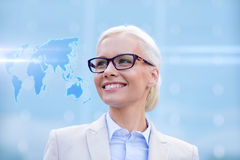 Young smiling businesswoman in eyeglasses outdoors Royalty Free Stock Photography