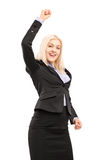 Young smiling businesswoman gesturing happiness Stock Images