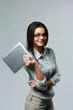 Young smiling businesswoman holding tablet computer Royalty Free Stock Photo