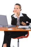 Young smiling businesswoman with laptop royalty free stock images