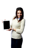 Young smiling businesswoman showing tablet computer screen Stock Images