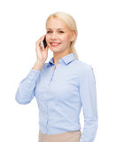 Young smiling businesswoman with smartphone Stock Photography