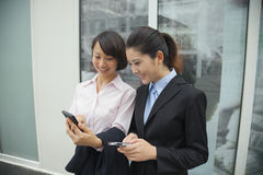 Young smiling businesswomen looking at their cell phones outside of the office building Stock Image