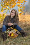 Young smiling caucasian woman outdoor in autumn Stock Photography