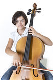 Young smiling cello player Royalty Free Stock Images