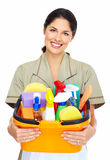 Young smiling cleaner woman. Royalty Free Stock Photos