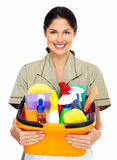 Young smiling cleaner woman. Royalty Free Stock Image