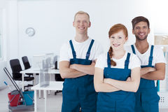 Young smiling cleaners royalty free stock photo