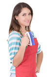 Young smiling cleaning woman. Isolated over white Royalty Free Stock Images