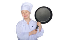 Young smiling cook with a pan Stock Image