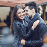 Young smiling couple casual portrait Stock Photo