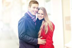 Young smiling couple celebrating Valentines Day. royalty free stock image