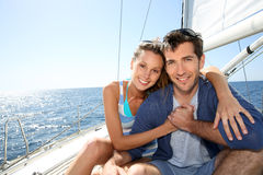 Young smiling couple on a cruise Royalty Free Stock Image