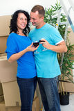 Young smiling couple having a toast Royalty Free Stock Photos