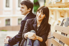 Young smiling couple in love outdoor Royalty Free Stock Photo