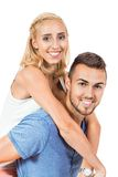 Young smiling couple in love portrait isolated Royalty Free Stock Images