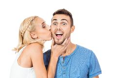Young smiling couple in love portrait isolated Stock Images