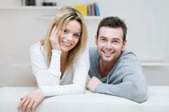 Young smiling couple portrait Stock Photos