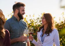 Young smiling couple tasting wine at winery outdoors royalty free stock images