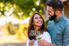 Young smiling couple tasting wine at winery outdoors. Young smiling couple tasting wine at winery vineyard - Friendship and love concept with young people stock images